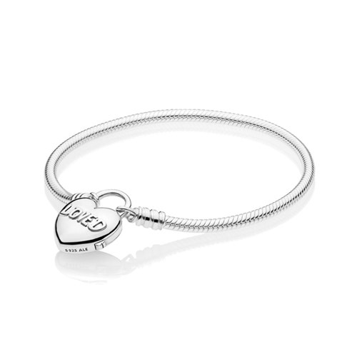 PANDORA Moments Smooth Silver Padlock Bracelet, You Are Loved Heart 597806