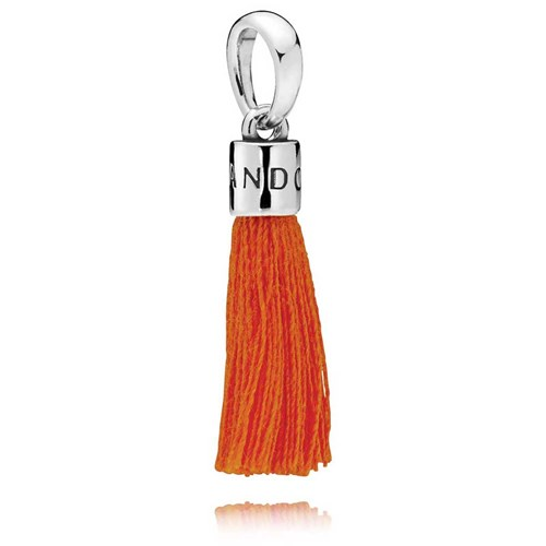 PANDORA Orange Fabric Tassel Dangle Charm 797212COE