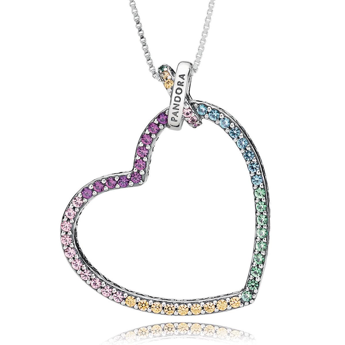79d7b20e2733f PANDORA Multi-Colored Heart Necklace- RETIRED!