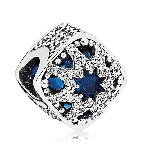 PANDORA Glacial Beauty Swiss Blue Crystals & Clear CZ Charm