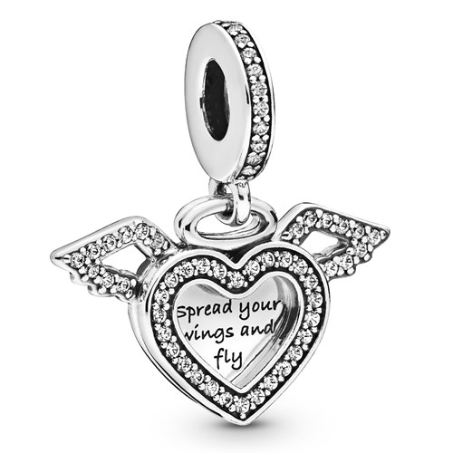 Pandora Heart & Angel Wings Dangle Charm 798485C01