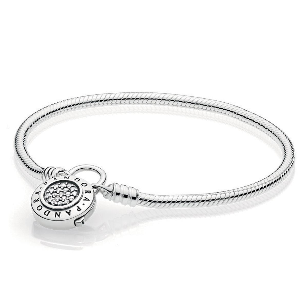 Pandora Moments Pavé Padlock Clasp Snake Chain Bracelet ...