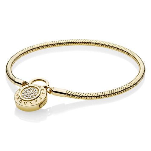 Pandora Shine Moments Smooth Signature Padlock Bracelet 567757cz