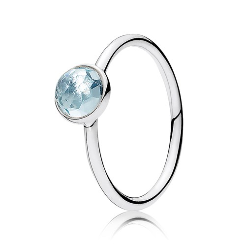 PANDORA March Droplet with Aqua Blue Crystal Ring