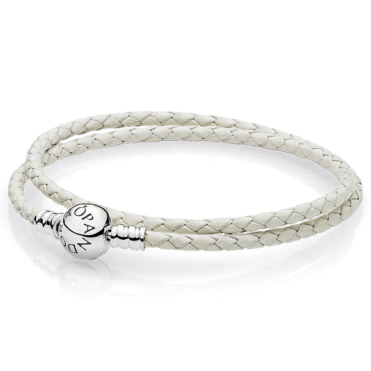 Pandora Ivory White Braided Double Leather Charm Bracelet