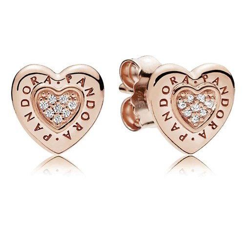 Pandora Rose Signature Heart Stud Earrings