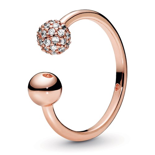 Pandora Rose™ Polished & Pavé Bead Open Ring 188316CZ