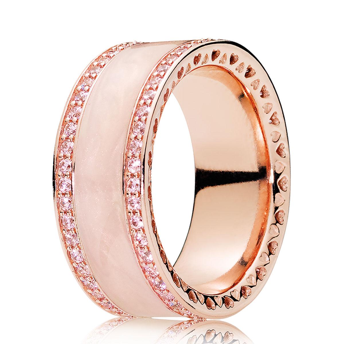 be0f693db PANDORA Rose Gold Cream Enamel Hearts of PANDORA Ring ...