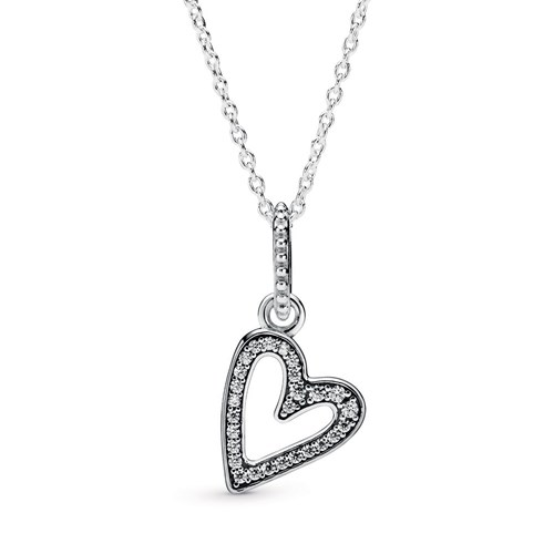 Pandora Sparkling Freehand Heart Pendant Necklace 398688C01