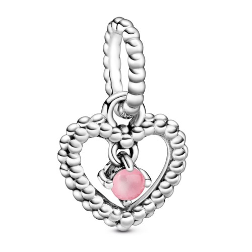 Pandora Petal Pink Beaded Heart Dangle Charm 798854C09