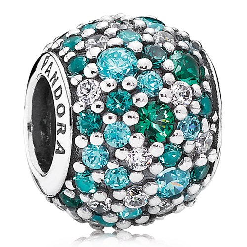 Pandora Ocean Mosaic Pavé With Mixed Green Cz And Crystal Charm 802 3003