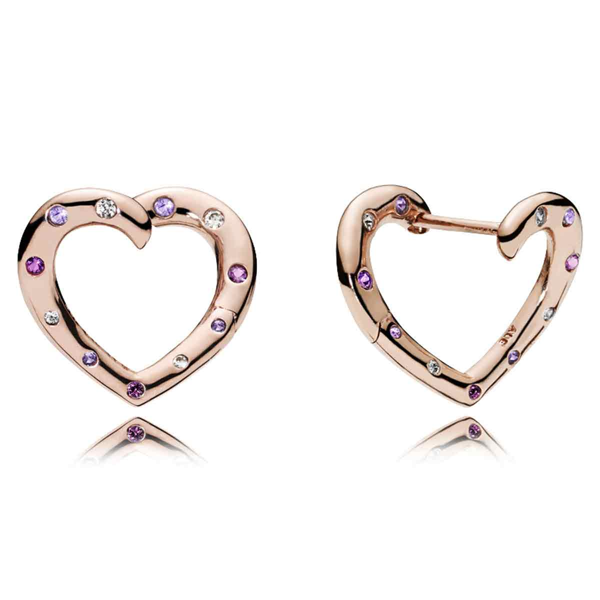 Pandora Rose Bright Hearts Hoop Earrings 287231nrpmx