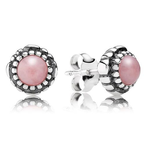 ab637e091 PANDORA Pink Opal October Birthday Bloom Stud Earrings ...