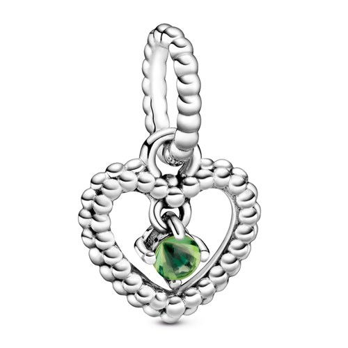 Pandora Spring Green Beaded Heart Dangle Charm 798854C10