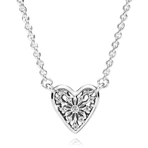 4695093b416d4 PANDORA Petite Heart of Winter CZ Necklace - Pancharmbracelets.com