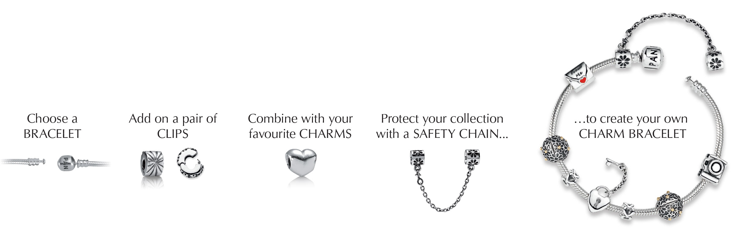 cfa53b0ab If you choose to add the decorative safety chain, place the swivel cuff  onto your bracelet first. Then arrange charms in the desired order and  finish with ...