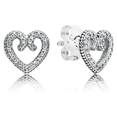 Pandora Heart Swirls Stud Earrings