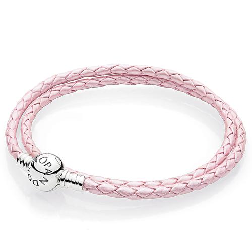 Pandora Pink Braided Double Leather Charm Bracelet