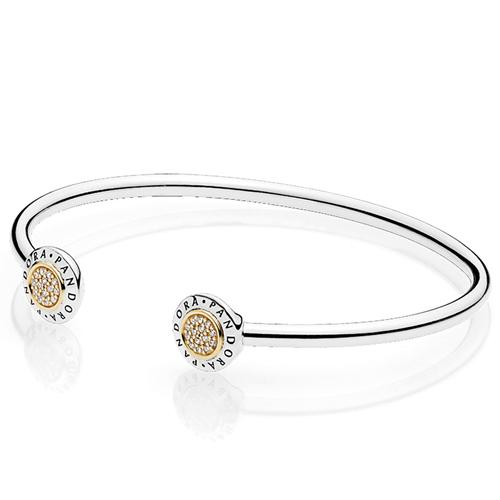 Pandora Signature Clear Cz Bangle Bracelet