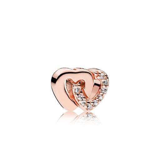 ab0b28ee7de35 PANDORA Rose™ & Clear CZ Interlocked Hearts Petite Charm
