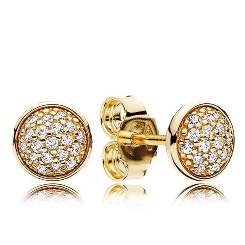 Pandora Dazzling Droplets 14k Gold Clear Cz Stud Earrings