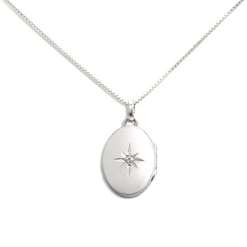 340453-Lovely Locket Medium Silver Oval Necklace