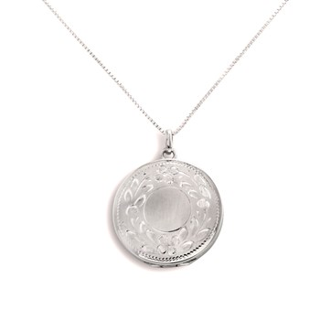 340458-Lovely Locket Silver Engraved Flower Necklace