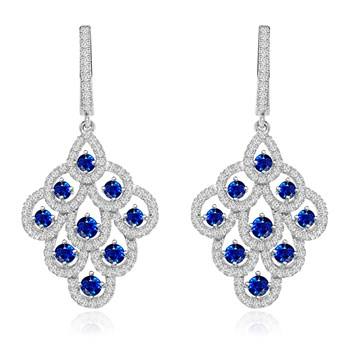 344416-Sparkling Blue Crystal Drop Earrings