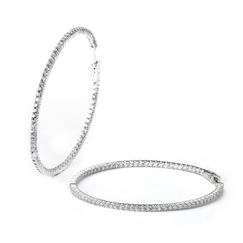 344407-Sparkling Medium Silver Hoop Earrings