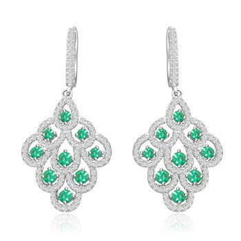 344415-Green Crystal Drop Earrings