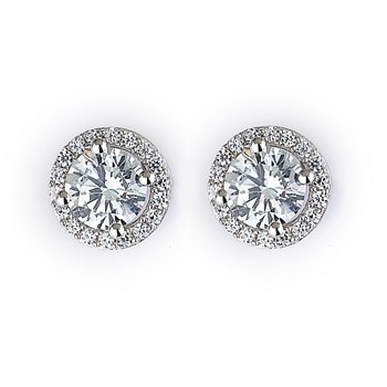 344404-Sparkling Silver Stud Earrings