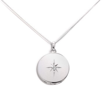 340454-Lovely Locket Medium Silver Round Necklace