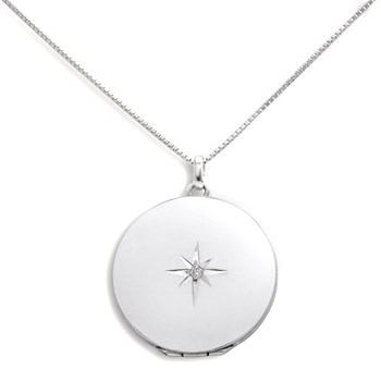 340457-Lovely Locket Large Silver Round Necklace