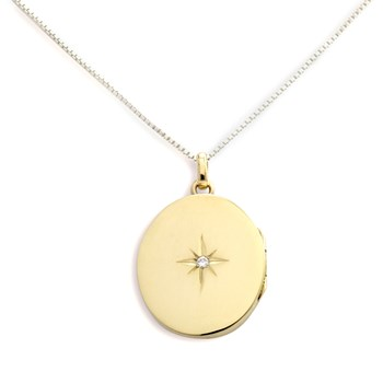 340466-Lovely Locket Large Gold Oval Necklace