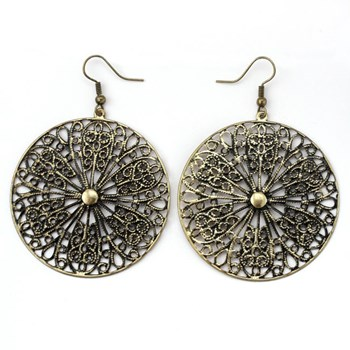 333527-Gold Filigree Disk Earrings