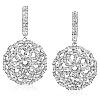 344904-Flower Dangle Bling Earrings