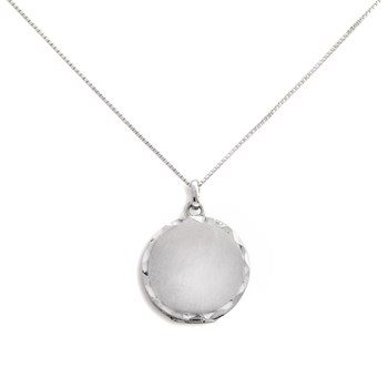 340459-Lovely Locket Silver Scalloped Round Necklace