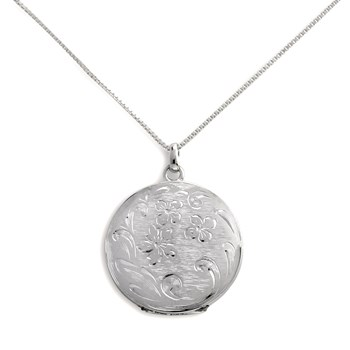 340455-Lovely Locket Silver Engraved Flower Necklace