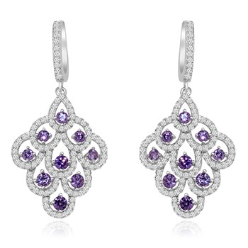 344418-Purple Crystal Drop Earrings