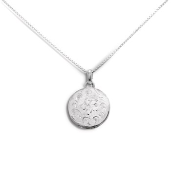 340448-Lovely Locket Small Silver Engraved Flower Necklace