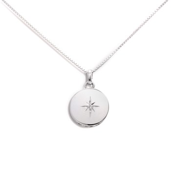 340449-Lovely Locket Small Silver Round Necklace