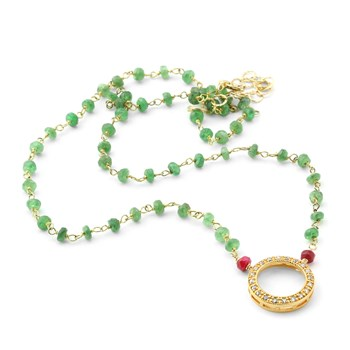 "235-597-Elisa Ilana ""Highborn"" Emerald & Ruby Necklace"