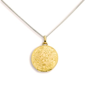 340467-Lovely Locket Medium Gold Engraved Flower Necklace