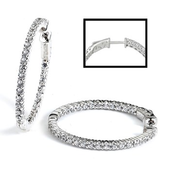 344409-Sparkling Silver Hoop Earrings