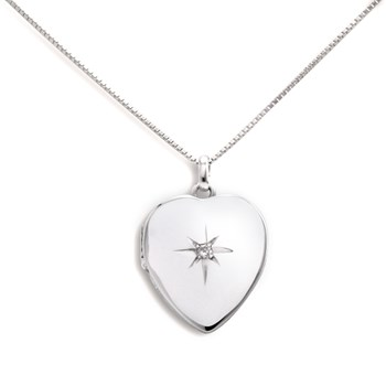 341057-Lovely Locket Silver Heart Necklace