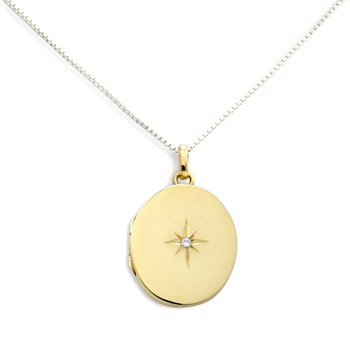 340465-Lovely Locket Medium Gold Oval Necklace