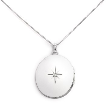 340451-Lovely Locket Large Silver Oval Necklace