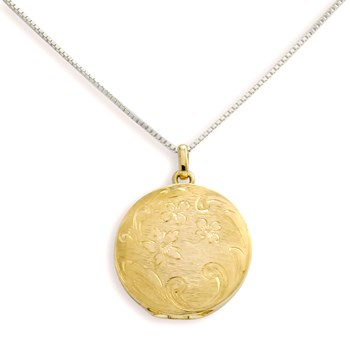 340468-Lovely Locket Large Gold Engraved Flower Necklace