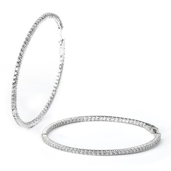 344413-Sparkling Large Silver Hoop Earrings