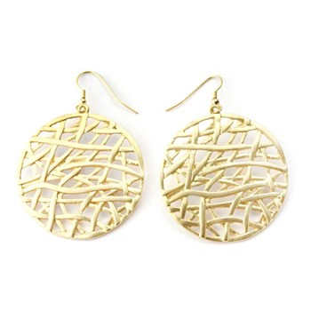333971-Gold Thatched Medallion Earrings